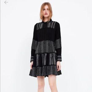 Zara black and white stripped contrast dress